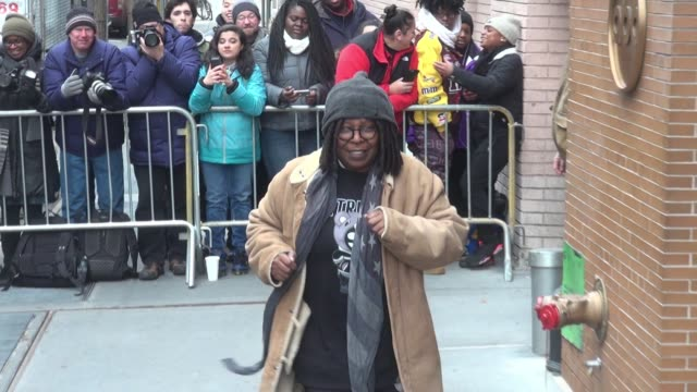 whoopi goldberg leaving 'the view' show poses for photos with fans in new york city on january 12 2016 in new york city - whoopi goldberg stock videos & royalty-free footage