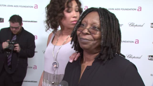 whoopi goldberg on attending tonight's party, on the oscar show, and on who she was glad to see win an award. at the 17th annual elton john aids... - oscar party stock videos & royalty-free footage