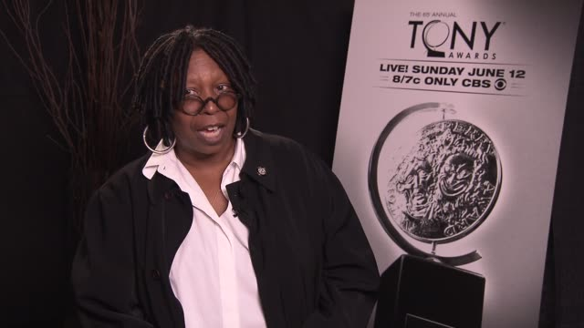whoopi goldberg says it's nice to be nominated a second time says her favorite tony memory is flying out as mary poppins as host of the tony's says... - whoopi goldberg stock videos & royalty-free footage