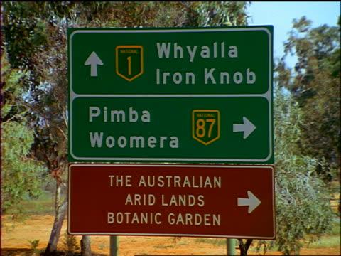 "HIGHWAY SIGN - ""Whyalla / Iron Knob / Pimba /Woomera"" + ""Arid Lands"" / Northern Territory, Australia"