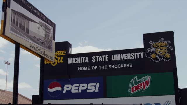 wichita state univeristy shockers scoreboard and sports stadium - wichita stock videos & royalty-free footage