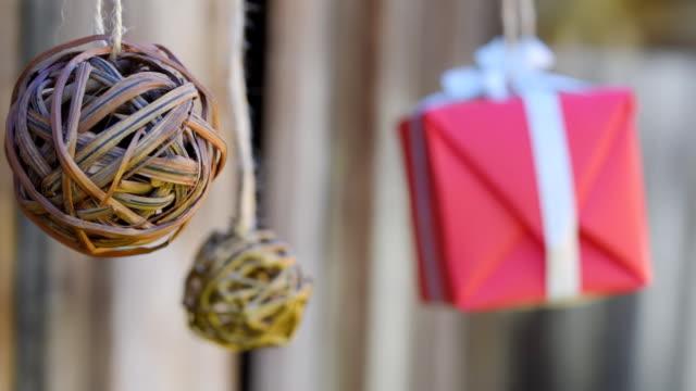 Wicker balls and giftbox