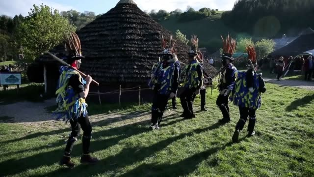 a wickerman is burned during the beltain festival an ancient celtic celebration to mark the beginning of summer at butser ancient farm waterlooville... - wickerman festival stock videos and b-roll footage