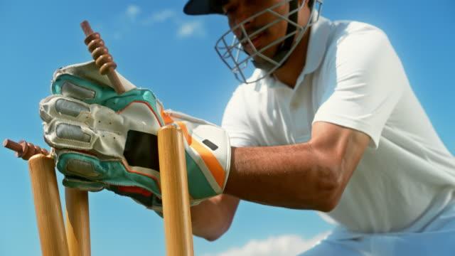 slo mo wicket-keeper stumping the batsman - batsman stock videos & royalty-free footage