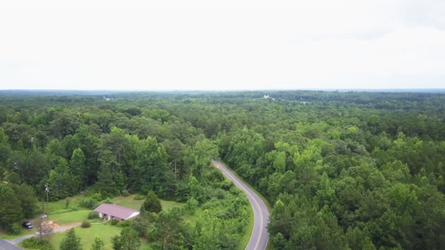 wide aerial, country road in georgia - georgia country stock videos and b-roll footage