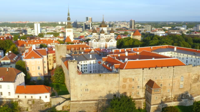Wide aerial drone shot of Tallinn ending with close up to Estonian flag