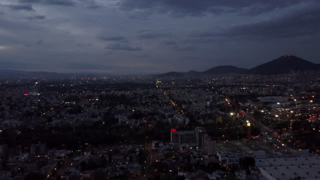 wide aerial, mexico city at night - mexican culture stock videos & royalty-free footage