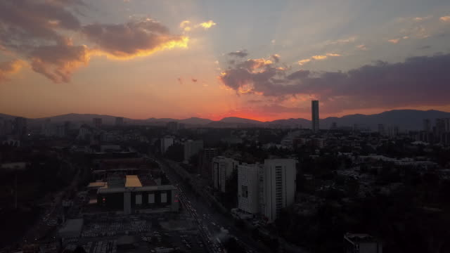 Wide aerial, Mexico City during sunset