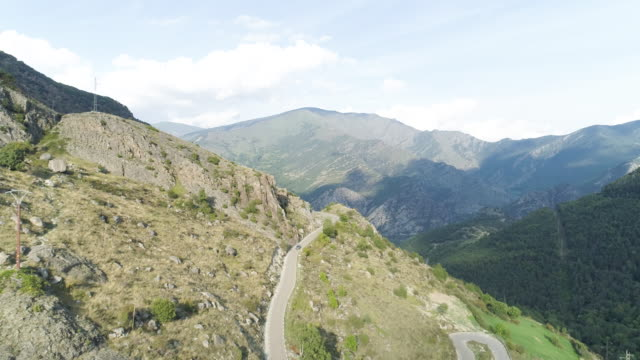 Wide aerial, mountain road in Spain