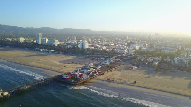 Wide Aerial of Beach, City and Pier