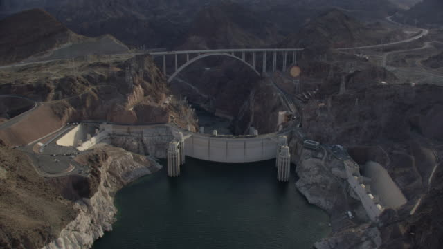 Wide Aerial Of The Hoover Dam Looking Down