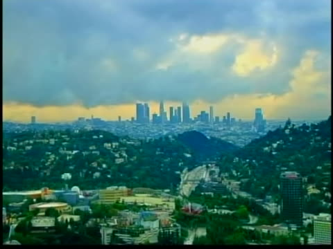 wide aerial pan of the los angeles skyline. los angeles is the most populous city in california and the second most populous in the united states,... - mexican american stock videos & royalty-free footage