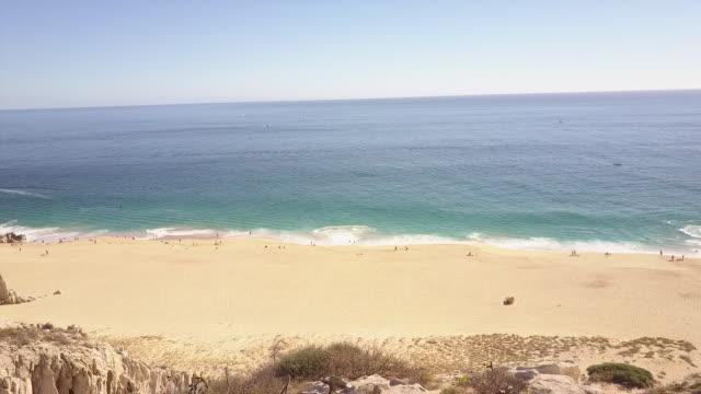 wide aerial, scenic beach in baja - penisola di bassa california video stock e b–roll