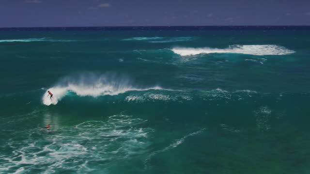 wide aerial shot of a young surfer catching a big wave - kahuku stock videos & royalty-free footage