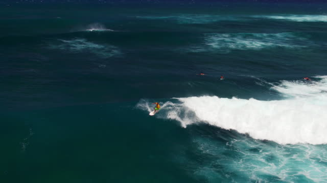 Wide aerial shot of athletic surfer riding wave back to shore