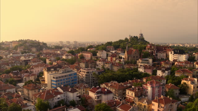 Wide aerial shot of cityscape at sunset / Plovdiv, Bulgaria