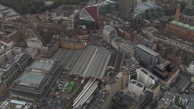 wide aerial shot of east croydon station and surrounding area uk - croydon england stock videos & royalty-free footage