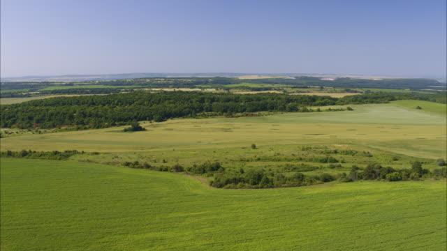 vídeos de stock, filmes e b-roll de wide aerial shot of green field under blue sky / balvan, bulgaria - bulgária