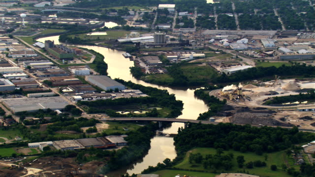 Wide aerial view of Buffalo Bayou and outskirts of Houston. Shot in 2007.