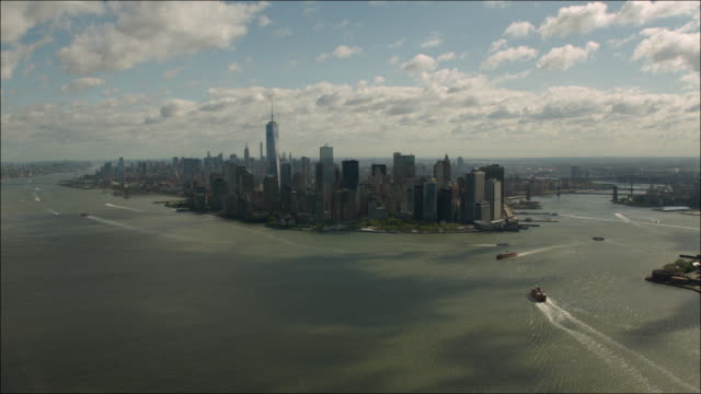 Wide Aerial View of Downtown Manhattan and New York City