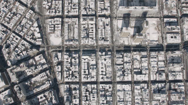 wide aerial view of lower manhattan and houston street on a sunny winter day. - grid pattern stock videos and b-roll footage