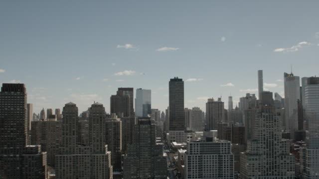 Wide Aerial View Of Midtown Manhattan Skyline New York City