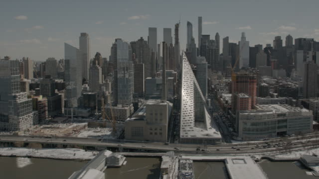 Wide Aerial View Of West Side Midtown Manhattan New York City