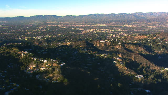 Wide aerial view over San Fernando Valley, California. Shot in 2008.