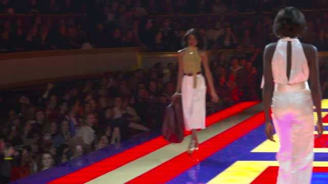 wide and detail runway shots and designer - tommy hilfiger designer label stock videos and b-roll footage