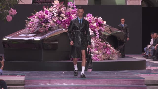 wide and detail runway shots and designer. - versace designer label stock videos & royalty-free footage