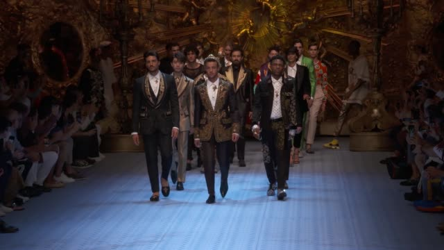 wide and detail runway shots, highlights of looks with finale and designer. - dolce & gabbana stock videos & royalty-free footage