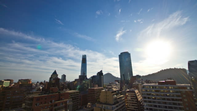 Wide Angel Timelapse of the Las Condes Skyline during Sunset at the End of Summer