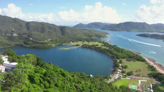wide angle aerial view of high island reservoir, far south eastern part of sai kung peninsula, hong kong - china east asia stock videos & royalty-free footage