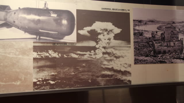 Wide angle at the Atomic Bomb Museum Nagasaki a photograph displays the Atomic Bomb