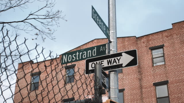 Wide angle establishing shot of Brooklyn's Nostrand Avenue