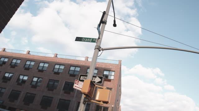 Wide angle establishing shot of iconic Nostrand Avenue in Bedford Stuyvesant, Brooklyn.