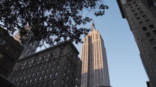 Wide angle, establishing shot of New York City's Empire State Building at sunset.