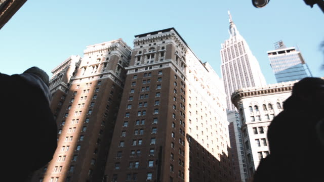 Wide angle establishing shot of New York City's Empire State Building