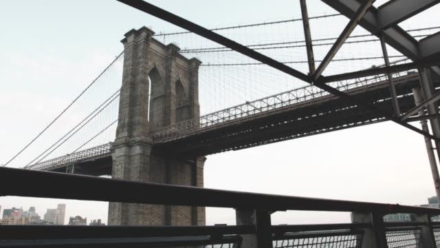 wide angle establishing shot of nyc's brooklyn bridge - brooklyn bridge stock videos & royalty-free footage