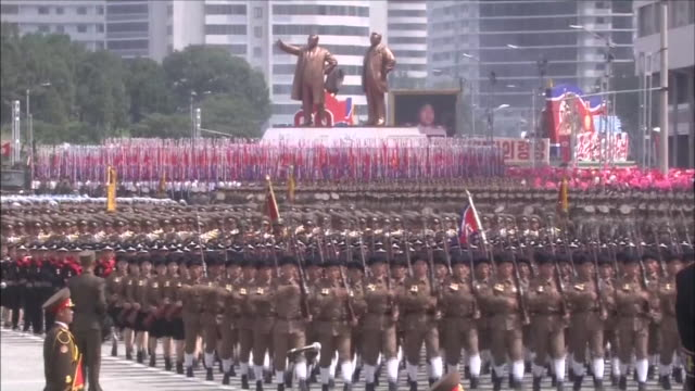 Wide angle fixed view of a military parade taking place at Kim Il Sung Square a great number of souldiers marching together with national flags...