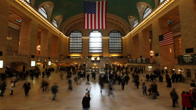 wide angle of Grand Central Station with crowd