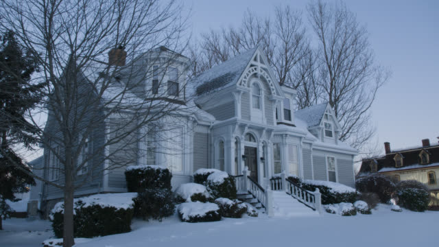 wide angle of multi-story house covered in snow. shrubs and trees visbile.