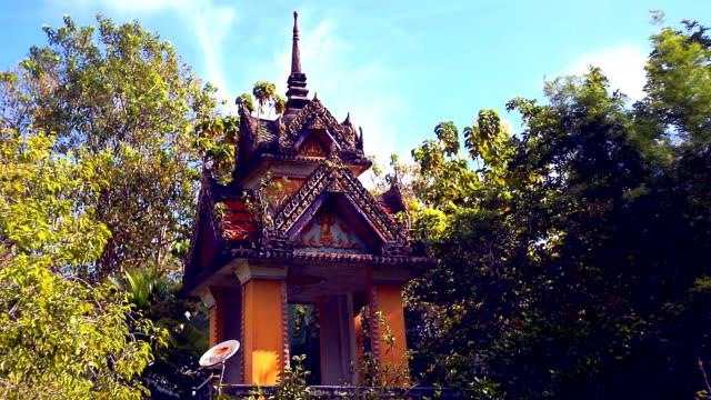 Wide angle of Satellite Dish at Buddhist Temple Old Town, Ko Lanta, Krabi, Thailand