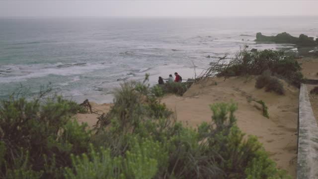 Wide angle of sea views and women walking, at Mornington Peninsula, Victoria, Australia