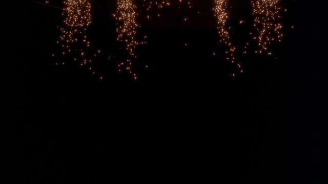 wide angle of sparks falling from lights in ceiling. could be stage or performance. pyrotechnic effect. - pyrotechnic effects stock videos & royalty-free footage