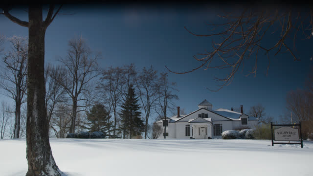 wide angle of willowdale asylum. could be hopsital. trees and snow visible. - ospedale psichiatrico video stock e b–roll