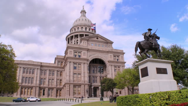 wide angle: ranger statue at state capitol in tx - museum stock videos & royalty-free footage