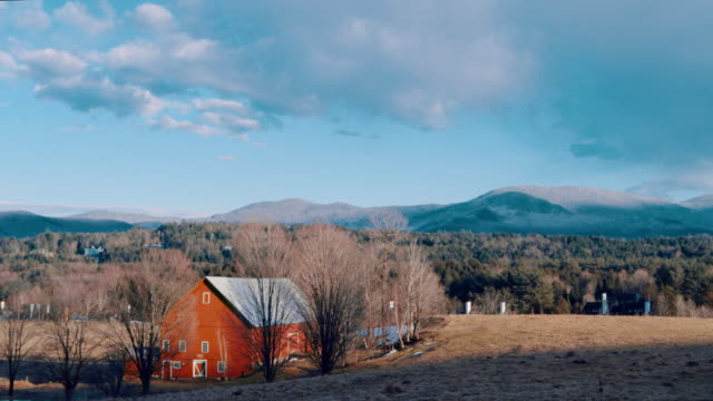 wide angle: red barn  (shot on red) - vermont stock videos & royalty-free footage