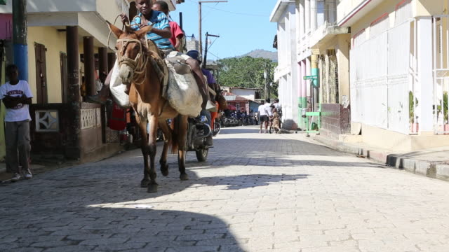A wide angle shot of a busy paved road in Pilate Haiti Two young boys who are riding on a donkey are passing by while two men on a moped are behind...