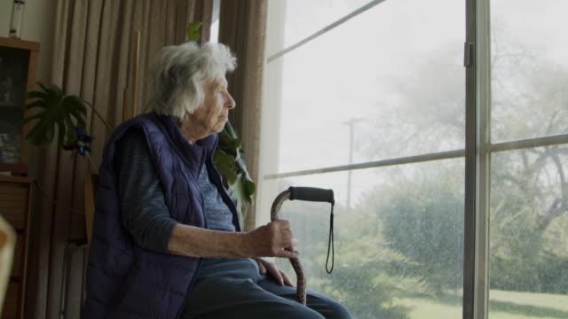 夏の窓の外を見て幸せで快適な高齢の白人女性の広角ショット - 座る点の映像素材/bロール